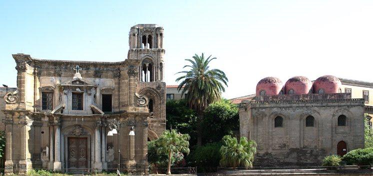 Prospetto laterale della chiesa della martorana o chiesa di Santa Maria dell'Ammiraglio