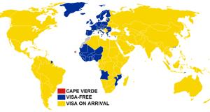 Cape Verde visa exemption map