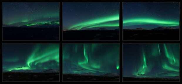 Different forms of aurora lights displays