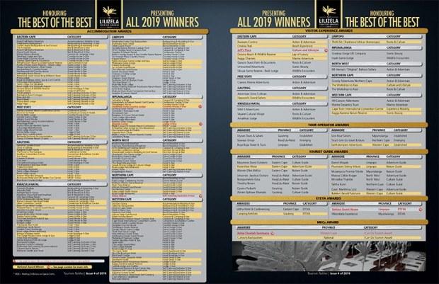 2019 Lilizela Tourism Awards Winners List