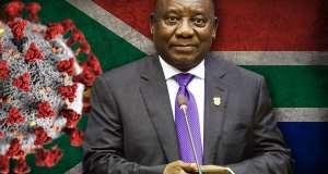 President Cyril Ramaphosa with SA flag and Covid-19 virus background