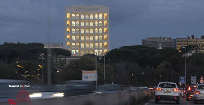 by car to Rome EUR Colosseo quadrato