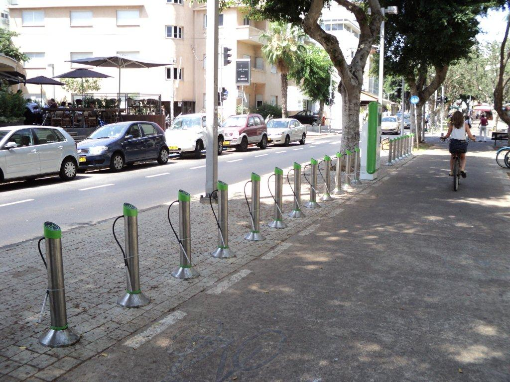 Bike station on Rothschild Boulevard.