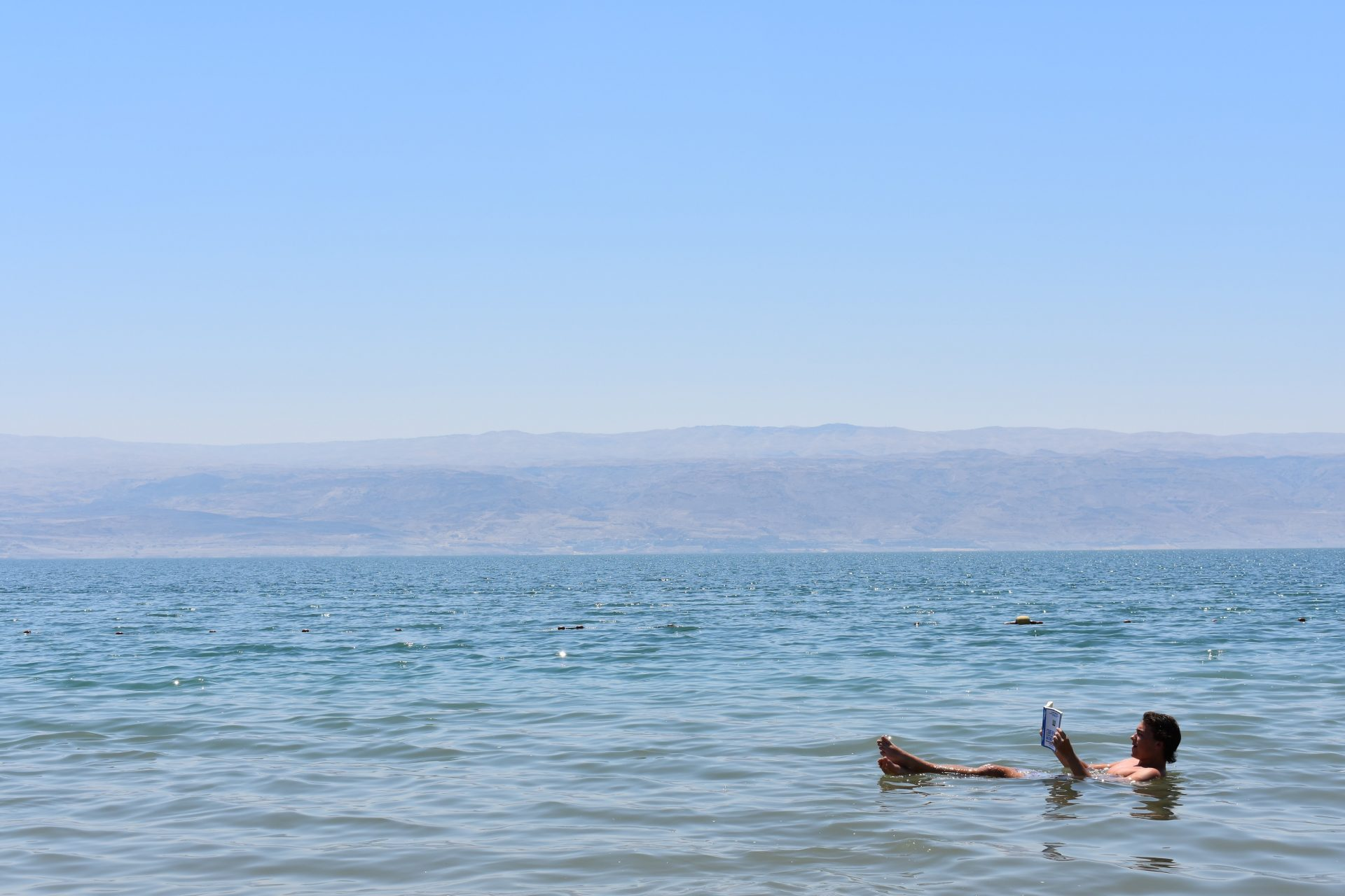 Floating in the nearby Dead Sea