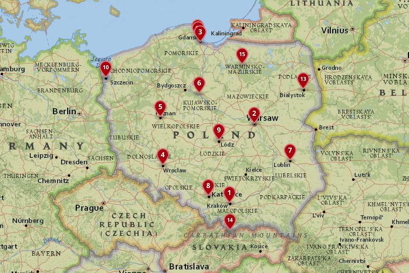 خريطة لأفضل المدن في بولندا