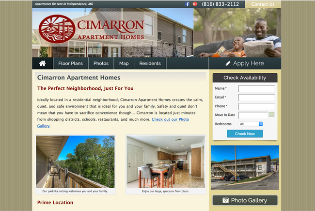 Cimarron Apartments website