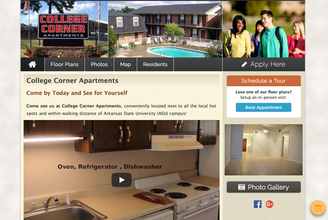 College Corner Apartments website