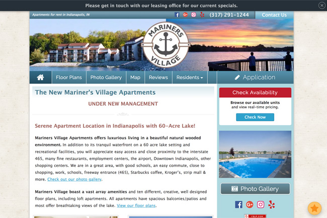 Mariner's Village Apartments website