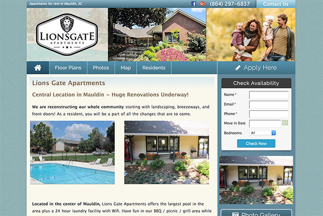 Lions Gate Apartments website