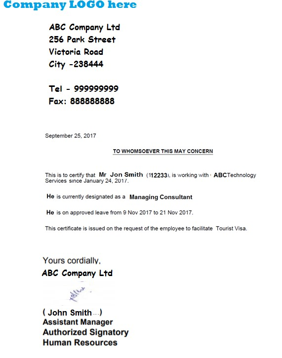 letter of employment sample for visa