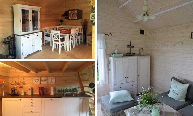 Abri de jardin avec mobilier bois