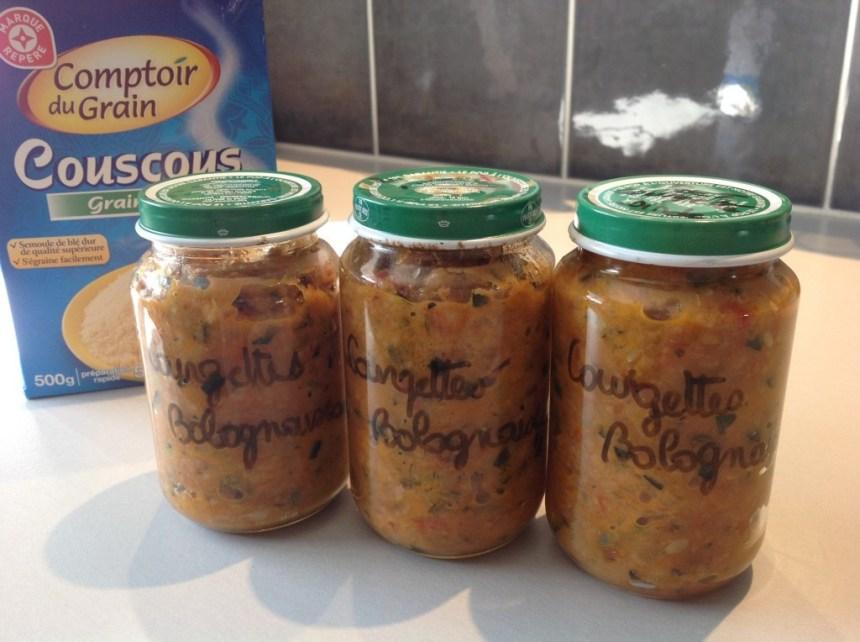BB Courgettes à la bolognaise semoule de couscous