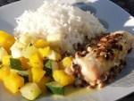 Dos de cabillaud aux pignons, variétés de courges et riz vapeur sauce beurre citron