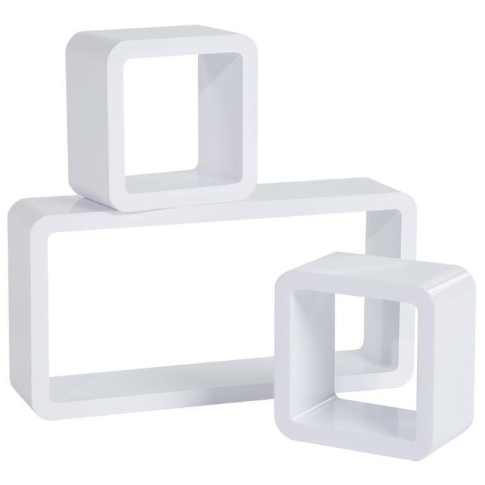 etagere cube 3 pieces blanc rectangulaire