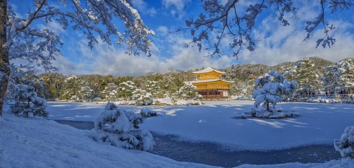 temple kyoto neige