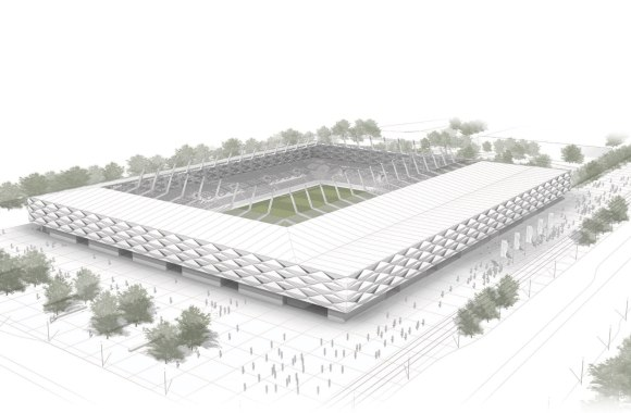 Image en 3D du futur stade national du Luxembourg Copyright : gmp_BENG