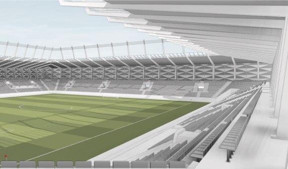 Image en 3D des tribunes du futur stade national du Luxembourg Copyright : gmp_BENG