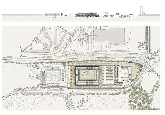 Futur stade national du Luxembourg - Vue de haut  Copyright : gmp_BENG