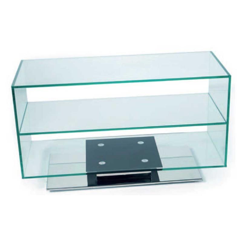 achat de meuble tv tendance glassy en inox poli a prix casse