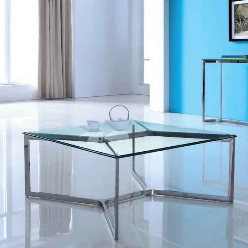 achat de table basse carree design denver en inox a prix discount