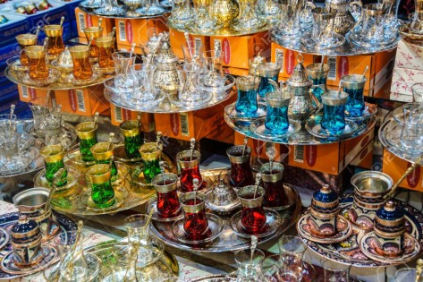 Tea sets and Turkish coffee service sets in the Grand Bazaar (Kapali carsi ) in Istanbul, Turkey