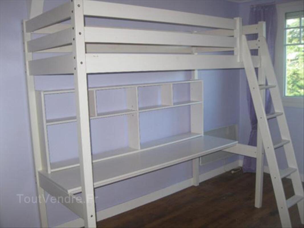 lit mezzanine avec bureau et etageres