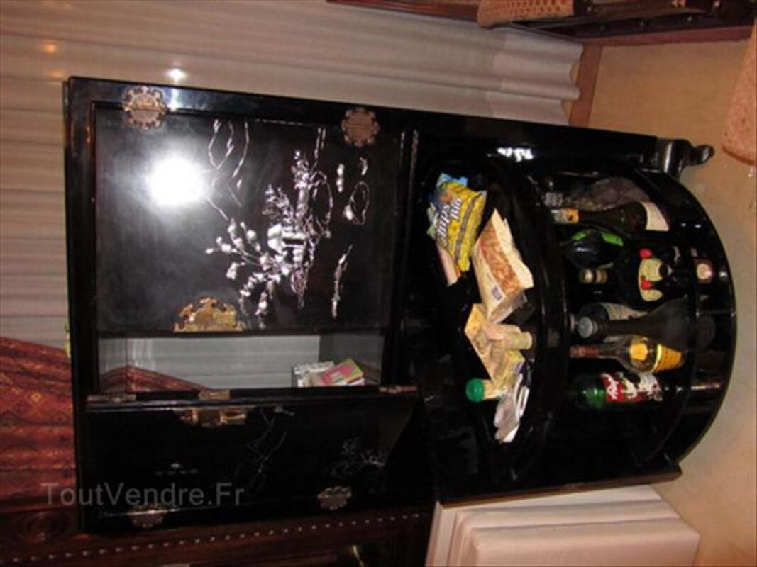 meuble chinois tv bar tournant laque