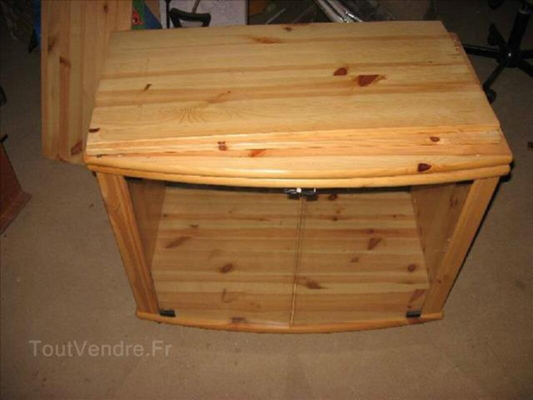 meuble tv avec plateau tournant en pin