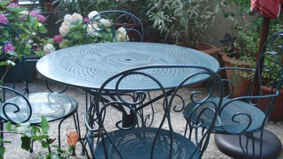 jardin table ronde 4 fauteuils fer