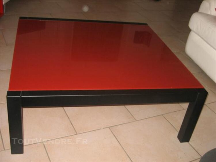table basse fly verre trempe rouge