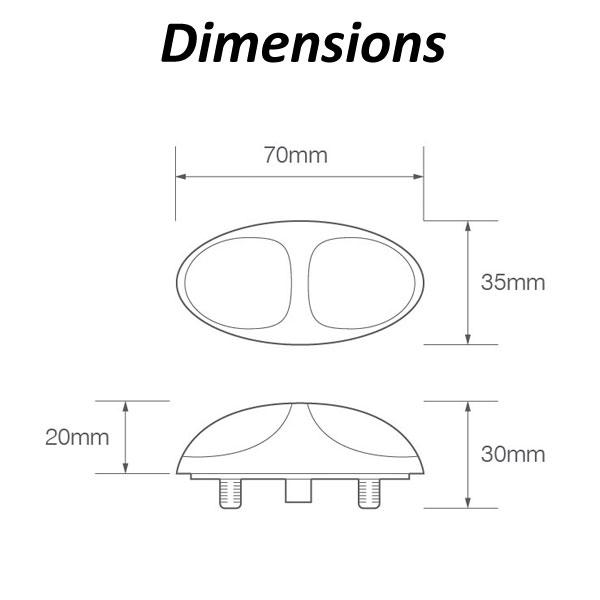 LED Autolamps 37CAM2P Easy Fit Multivolt Amber Side Marker