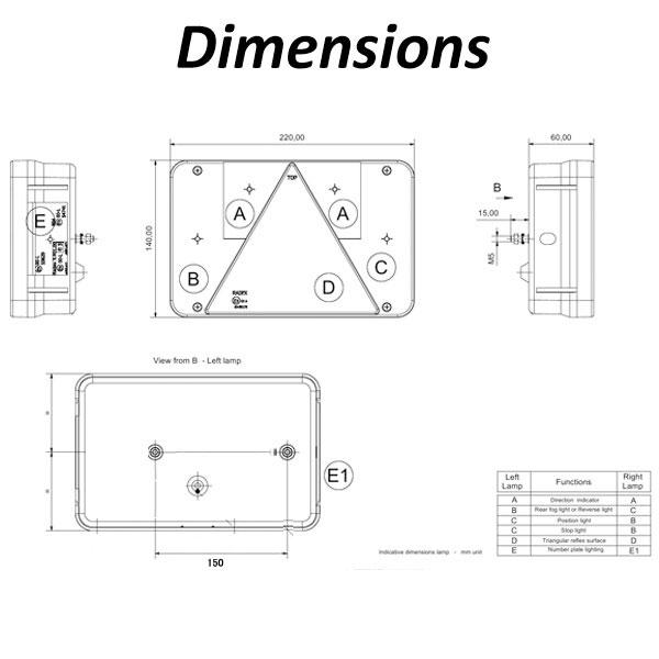 Radex 5800 Lefthand 6 Function Rear Light (Plug In