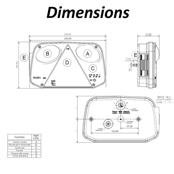 Radex 2800 Lefthand 6 Function Rear Light (Plug In