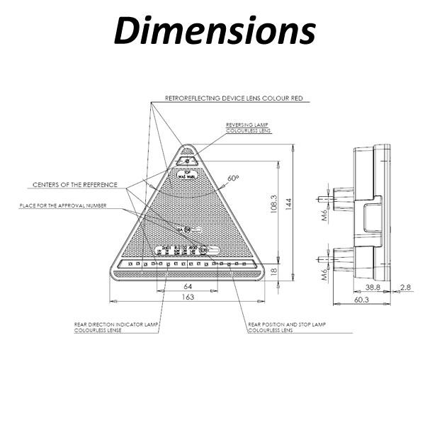 WAS W68L Multivolt LED 5 Function Triangular Rear Light