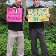 Mitt Romney Met by Gay Protest at Mormon Bookstore in La Jolla