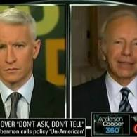 Watch: Anderson Cooper asks Lieberman — How Much of Opposition to 'DADT' Repeal is Folks Who Just Don't Like Gay People?