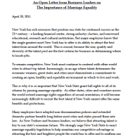 Business Leaders Send Pro-Marriage Equality Letter To NY Governor