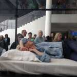 Tilda Swinton Sleeping in Glass Box at the MoMa
