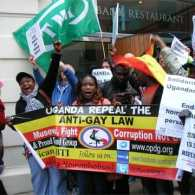 Activists Protesting Anti-Gay Law Disrupt Speech by Ugandan President in London