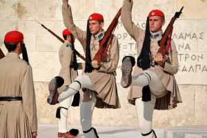 Traditional Greek soldiers, gay honeymoon getaways, ManAboutWorld gay travel magazine, Towleroad