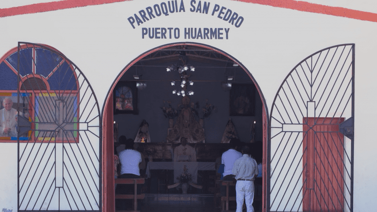 The church where Father Paul Madden celebrates Mass, in Puerto Huarmey, Peru. Father Madden admitted to molesting a 13-year-old boy, and told GlobalPost he could never again work in the US. (Jimmy Chalk/GlobalPost)