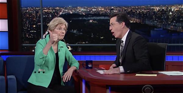 Elizabeth Warren Trump Stephen Colbert