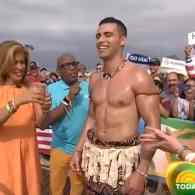 Tonga Flag Bearer Pita Taufatofua Gets an Oil Body Rub on the 'Today' Show: WATCH