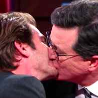 Andrew Garfield Planted Two Sexy, Intimate Kisses on Stephen Colbert Last Night: WATCH