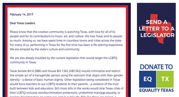 Equality Texas letter