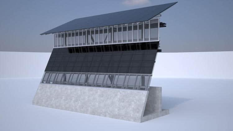 Solar panel wall Credit: Gleason Partners