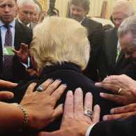 Michelle Bachmann, Anti-LGBTQ Evangelical Leaders Lay Hands on Trump Ahead of Pat Robertson Interview