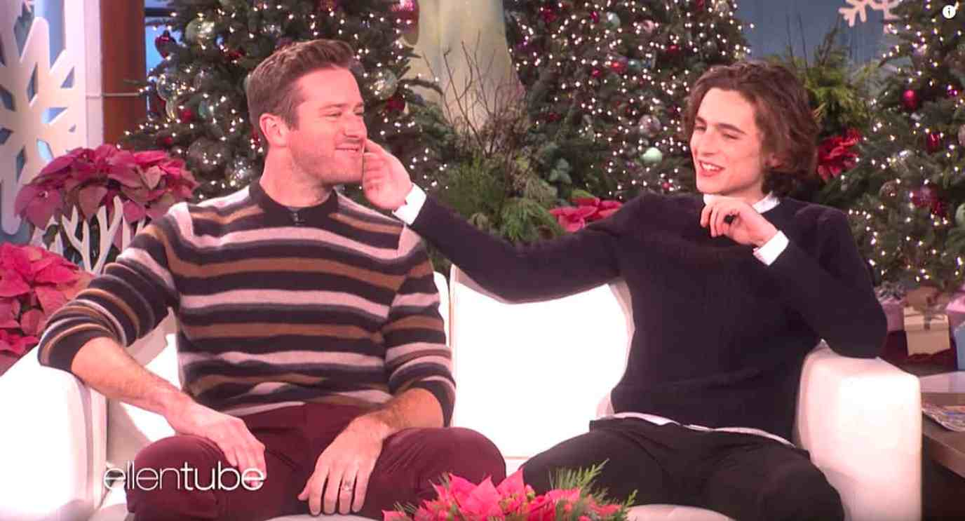 Armie Hammer Timothee Chalament make-out session