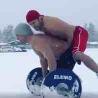Shirtless Weightlifters Release Some Sexual Tension in the Snow: WATCH