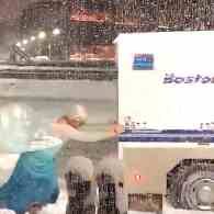 Drag Queen Dressed as Elsa from Frozen Pushes Boston Police Van Out of Snowbank: WATCH